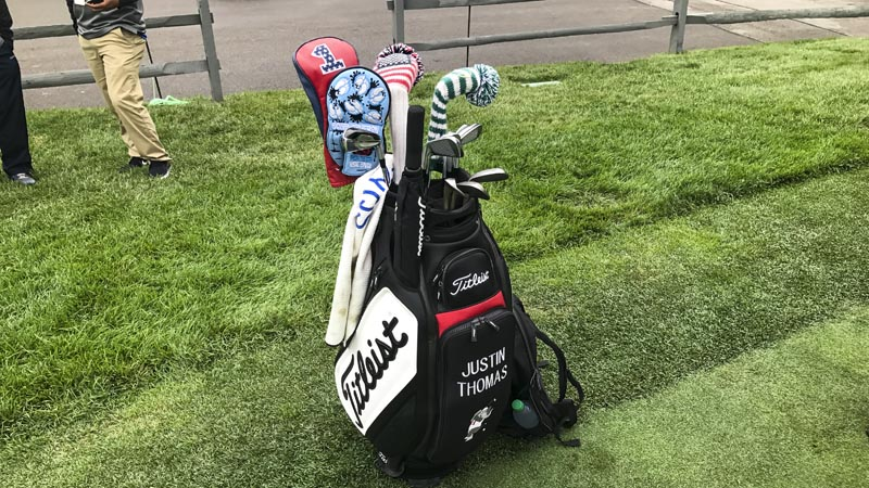 JT's gear. Note the Circle T Tar Heel headcover from the PGA Championship.