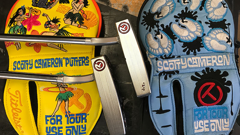 Justin Thomas' Futura X5.5 prototype putters and CT headcovers.