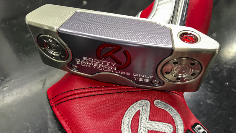 Scotty Cameron Select Squareback (TSB) with Circle T Cherry Bomb on the heel.