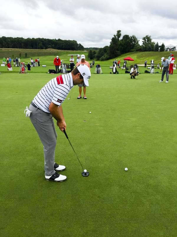 Ben Martin with his Tour Only Futura X7M on the practice green at the Travelers Championship.