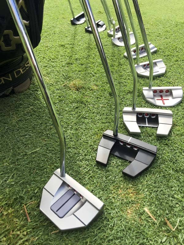 The Scotty Cameron Tour putter lineup at the Fujisankei Classic.