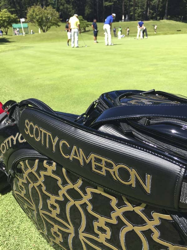 Our Scotty Cameron staff bag on the practice green.