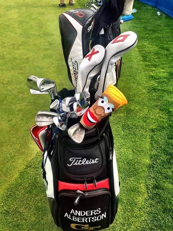 Titleist FPL player Anders Albertson has his Puttator Girl headcover, too.