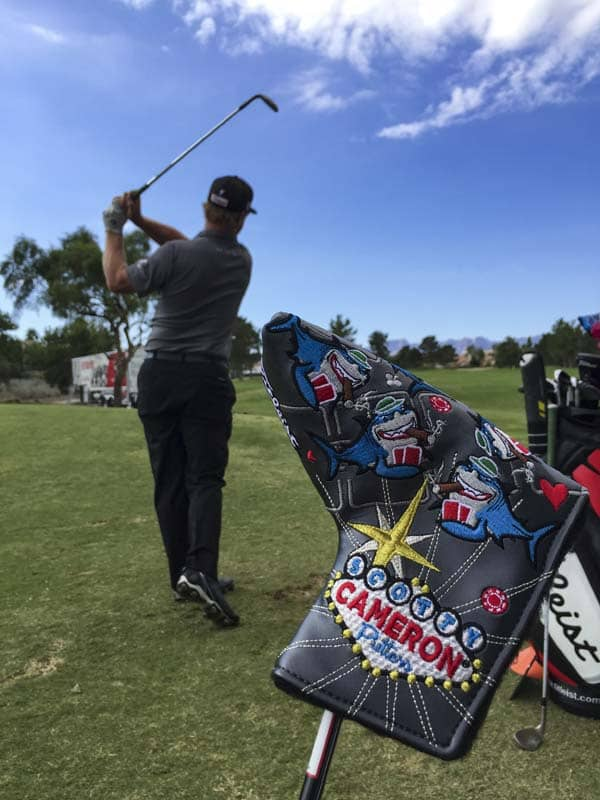 Charley Hoffman is ready with his Card Shark headcover.